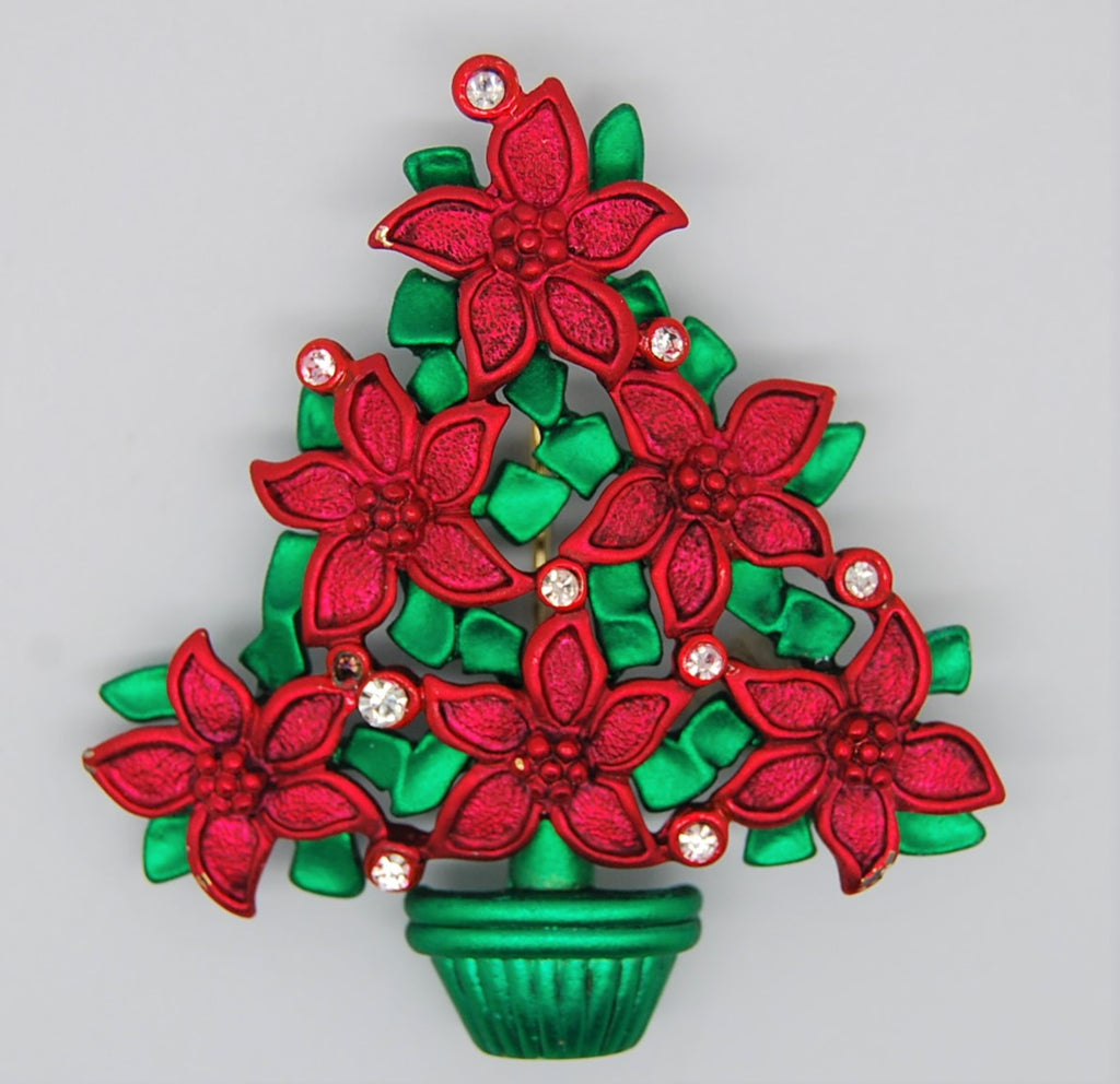 Poinsettia Christmas Tree Red and Green Enamel Figural Brooch