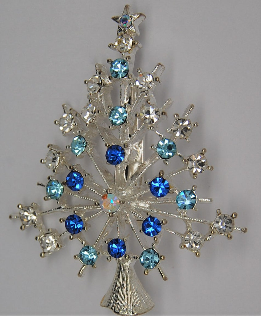 JJ Snow Flake Crystal Christmas Tree Vintage Holiday Brooch