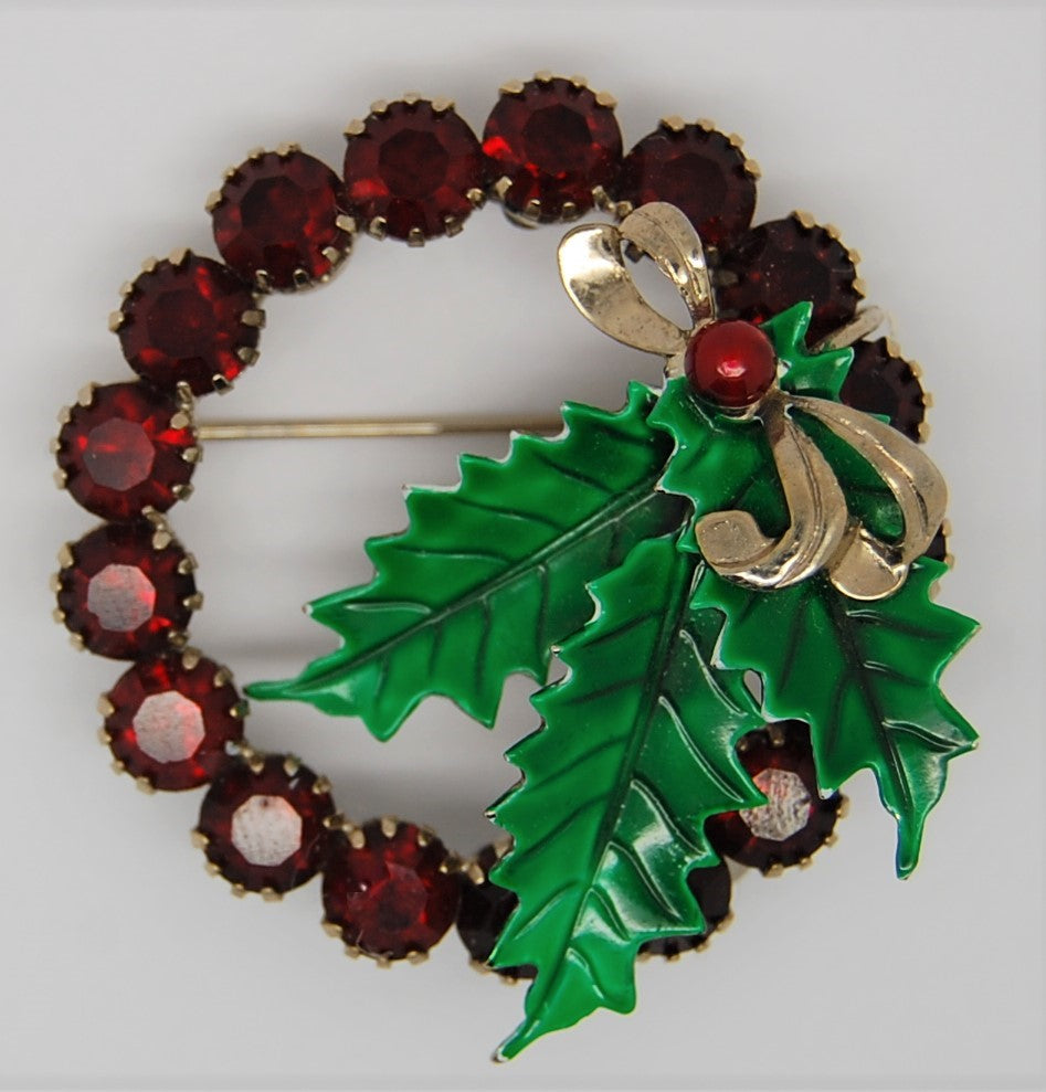 St Labre Ruby Red Rhinestone Holly Bow Wreath Brooch - 1960s