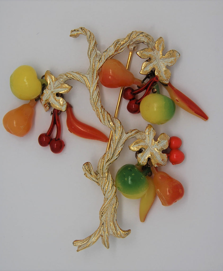 Hobe Fruit Art Glass Tree Vintage Figural Brooch - Rare