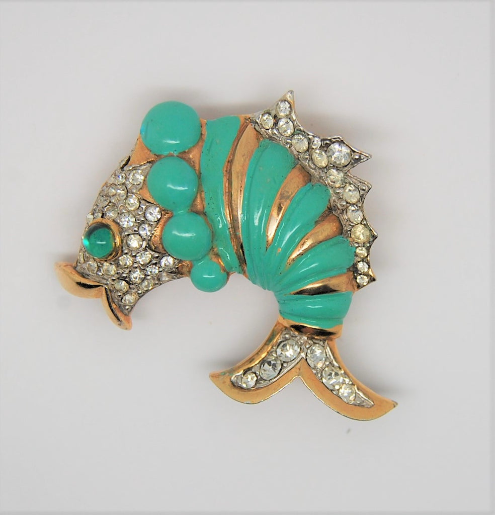 Mimi Di N Fanciful Enamel Rhinestone Kissing Fish Vintage Figural Brooch