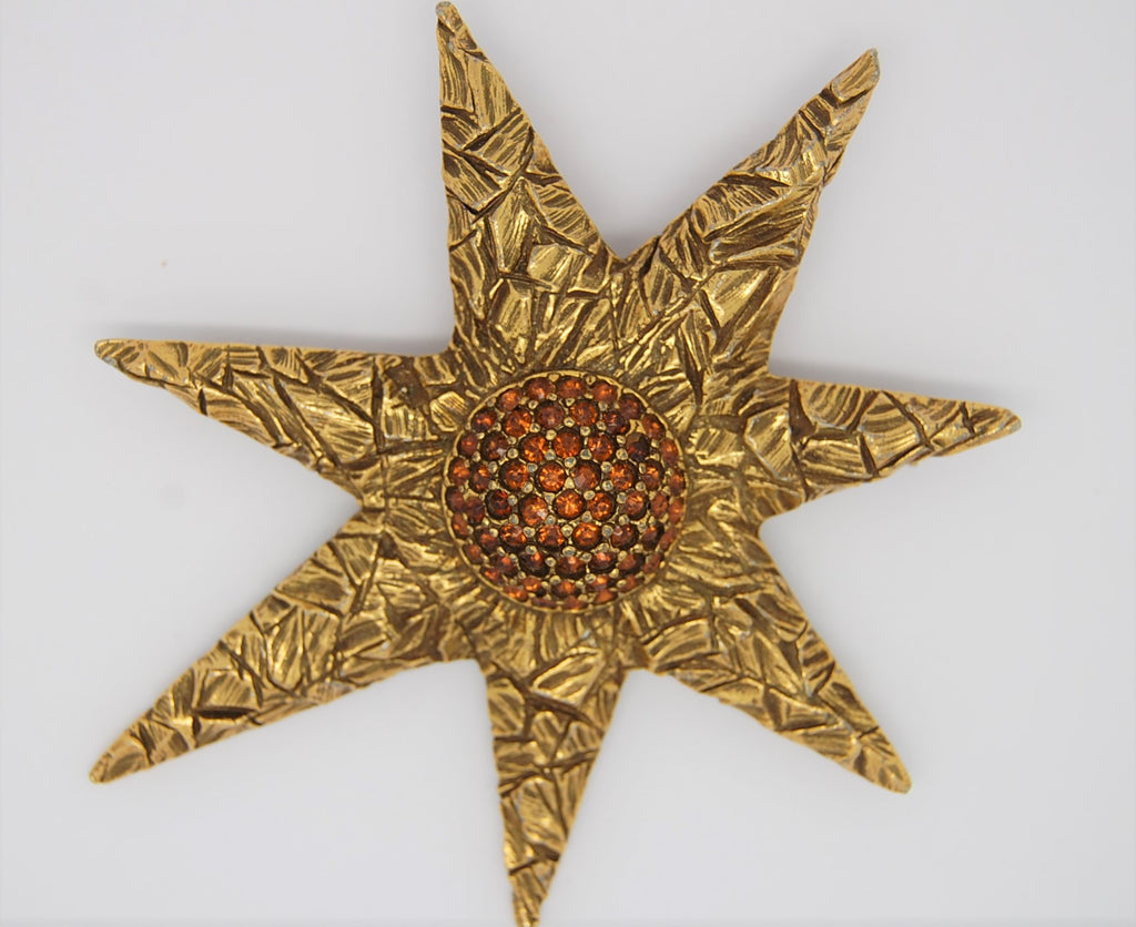 Jeanne Gold Tone Abstract Star Vintage Figural Brooch