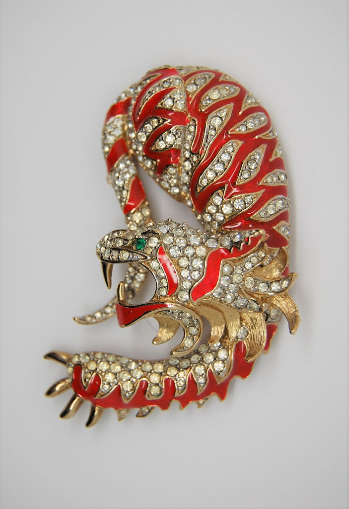 A & S Attwood & Sawyer Mystical Beast Dragon Tiger Vintage Figural Brooch
