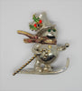 Frosty the Snowman Christmas Holiday Skis Vintage Figural Brooch