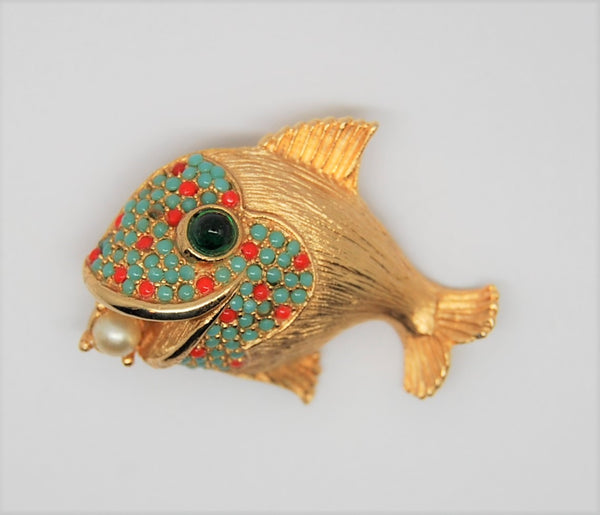 Carnegie Coral Turquoise Pearl Happy Fish Vintage Figural Brooch