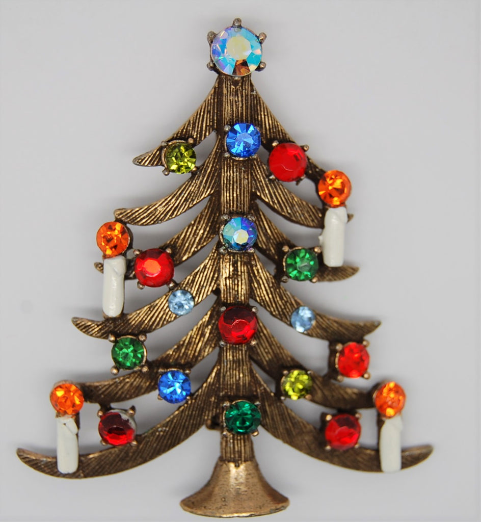 Weiss Christmas Branch Candles Tree Rhinestones Vintage Figural Brooch