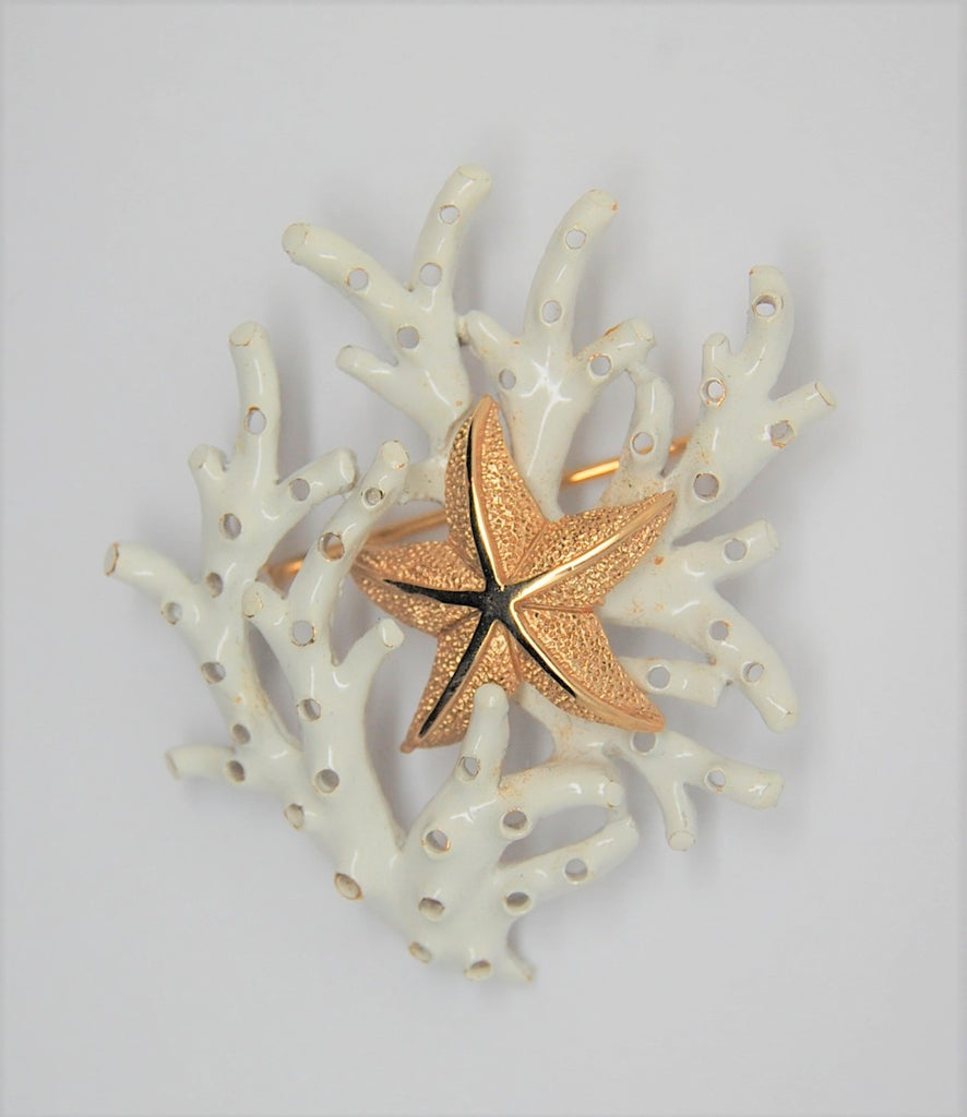 Trifari Enamel Under the Sea Coral Starfish Vintage Figural Brooch