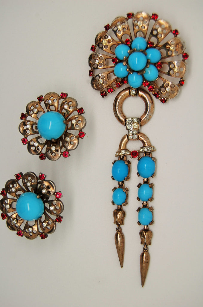 Crown Trifari Sterling Turquoise Dangle Brooch & Earring Set A Philippe 1946 - Mink Road Vintage Jewelry