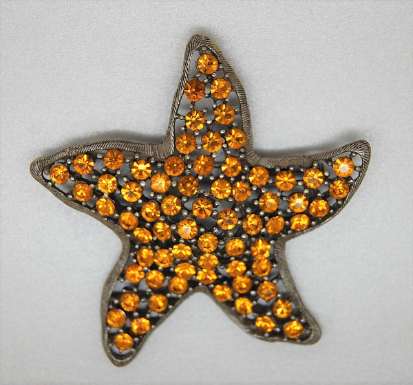 Weiss Starfish Amber Stones - Authentic 1960s Figural Brooch