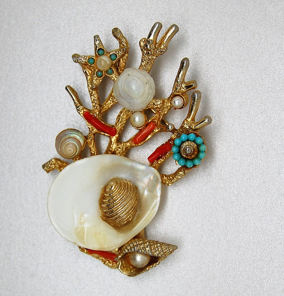 Art Shell Coral Fish Pearls Shells Figural Brooch