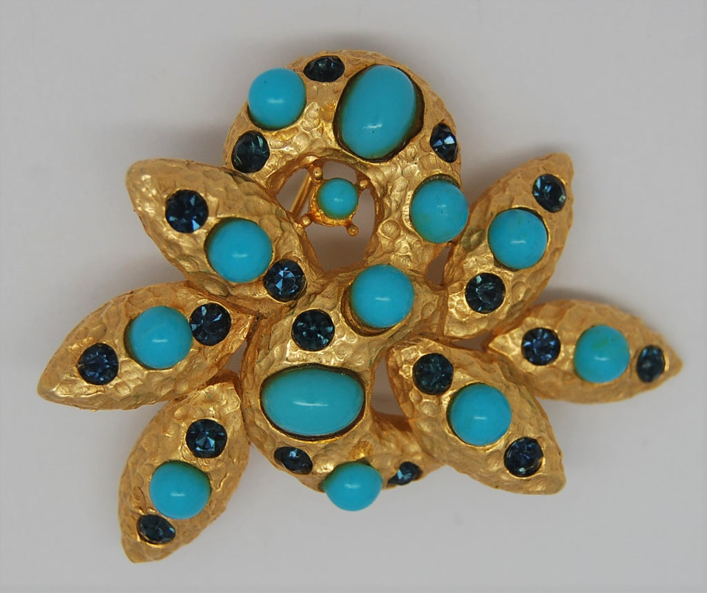 Polcini Turquoise & Sapphire Sea Coral Vintage Figural Brooch