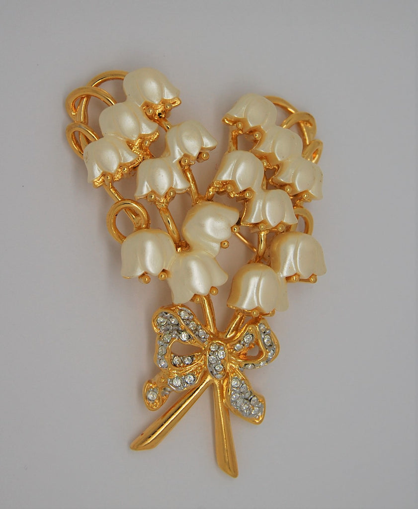 KJL Lilies of the Valley Vintage Figural Brooch - Mint