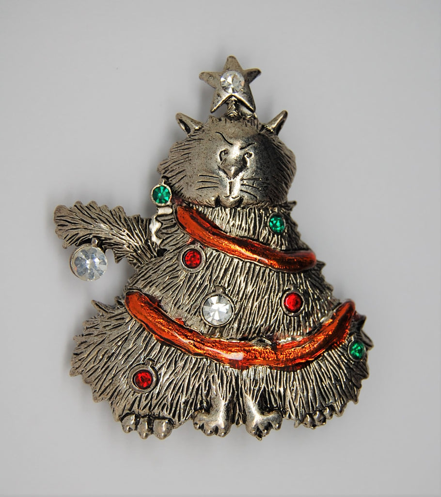 LIA Christmas Cat Garland Ornaments Tree Vintage Figural Brooch
