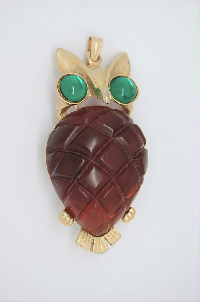 Coro Craft Carved Faux Amber Jelly Belly Owl Vintage Figural Brooch