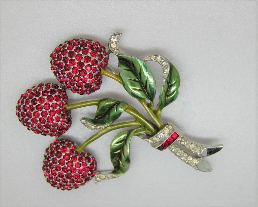 Jomaz Mazer Cherries Figural Rhodium Brooch 1944 - Mint