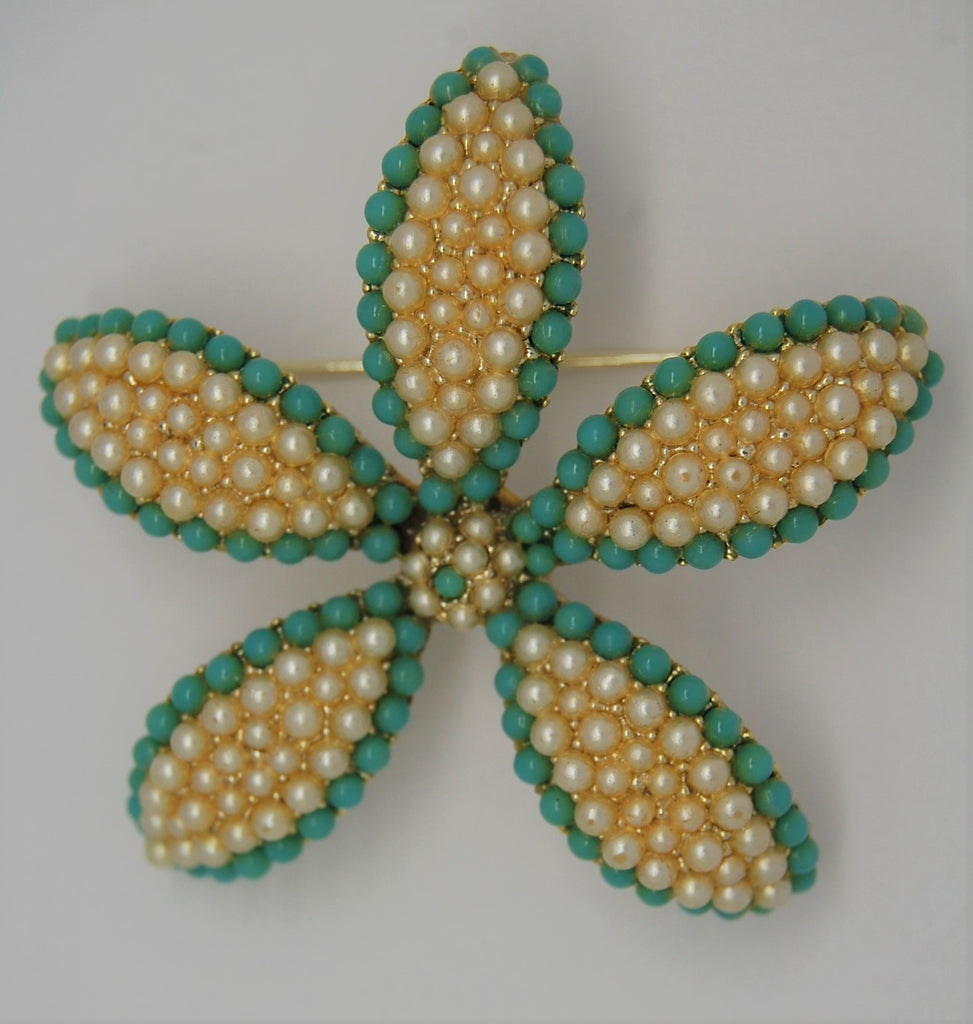 BSK Blue Beads and Pearls Starfish Floral Vintage Figural Brooch