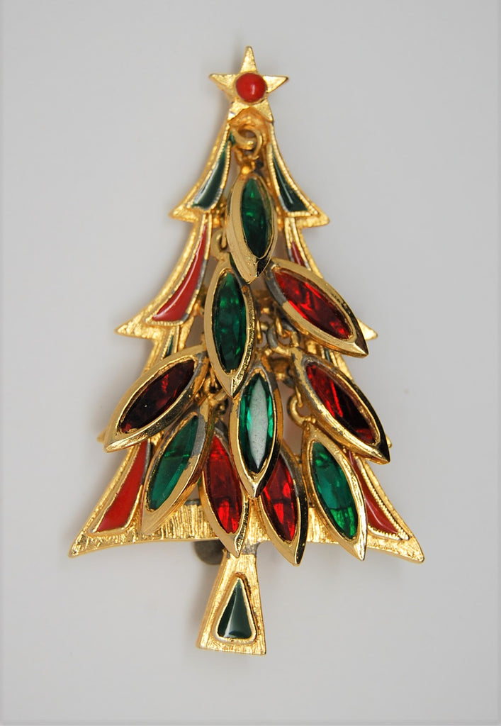Tancer II Christmas Dangling Navettes Holiday Tree Vintage Figural Brooch