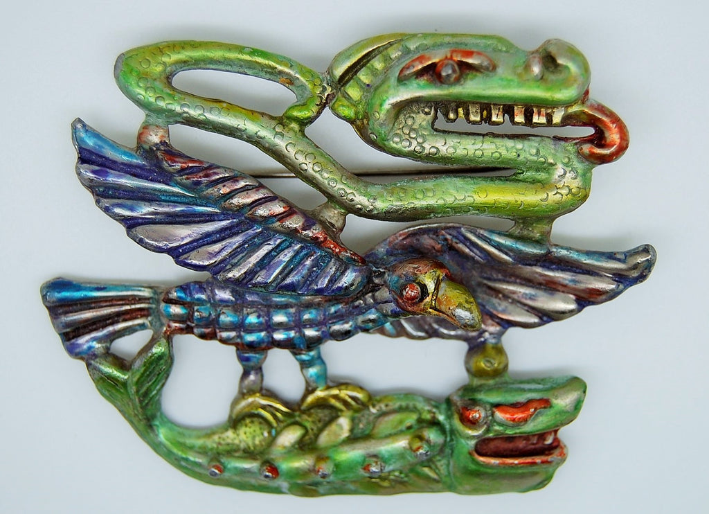 Boucher South of the Border Fanged Snake Eagle Fish 1940s Brooch - Mink Road Vintage Jewelry