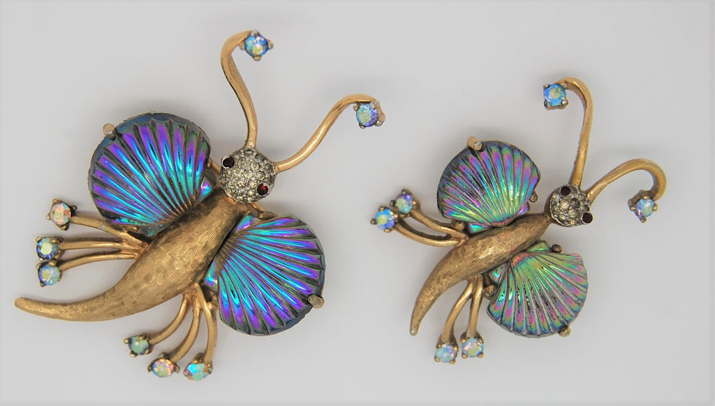 Jomaz Double Butterfly Iridescent Wing Vintage Figural Brooch Set -1940s