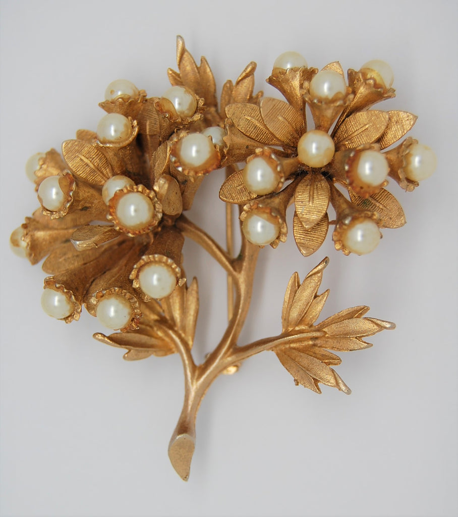 HAR Floral Pearl Classic Vintage Figural Brooch - mid 50s