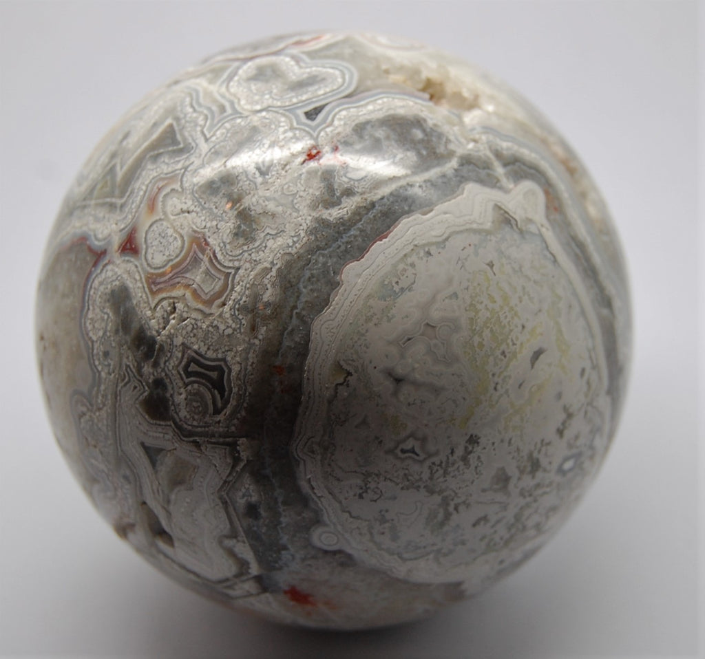 Sphere - Mexican Crazy Lace w/ Crystal Vugs 3 Inch Agate