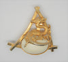 Carnegie Coiled Dragon Celluloid Egg Gold Tone Vintage Figural Brooch