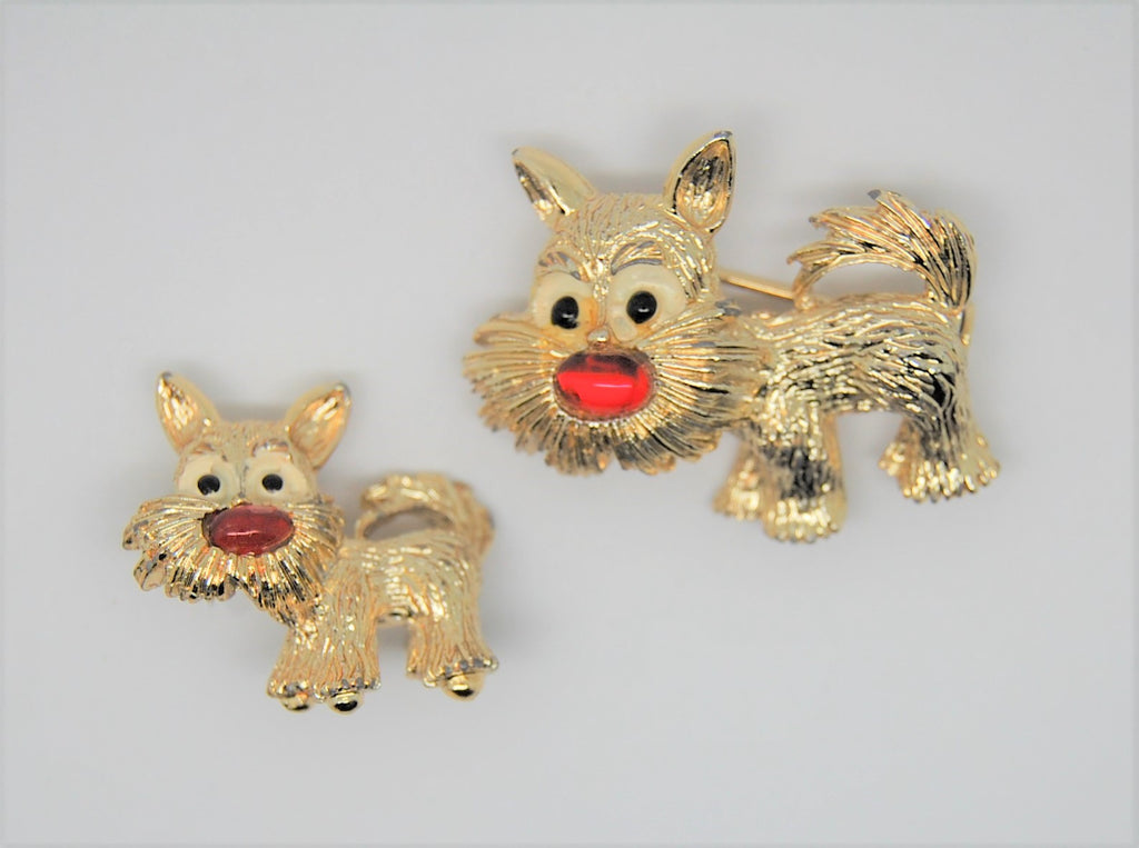 Gerrys Puppers Red Nose Scottie Terrier Dog Scatter Vintage Figural Brooch Set