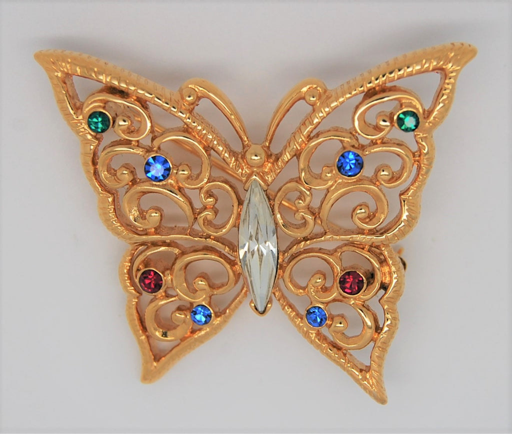 Monet Butterfly Gold Tone Rhinestones Vintage Figural Brooch