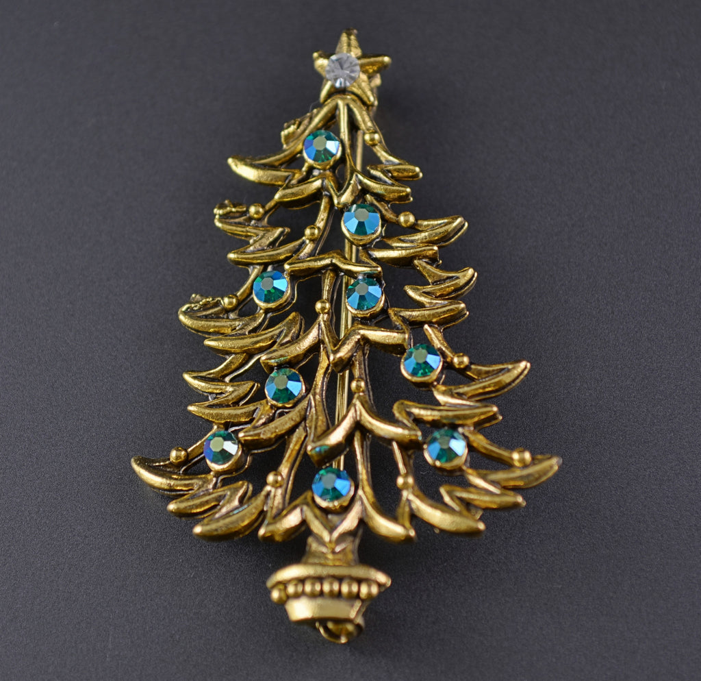 JJ Blue Rhinestone Christmas Tree - Mink Road Vintage Jewelry