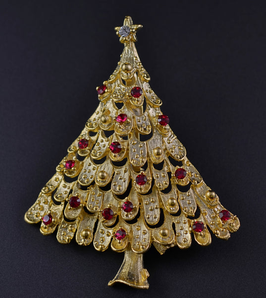JJ Red Rhinestone Gold Tone Tree - Mink Road Vintage Jewelry