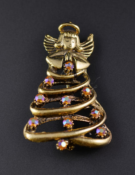 Guardian Angel Christmas Tree Pin - Mink Road Vintage Jewelry