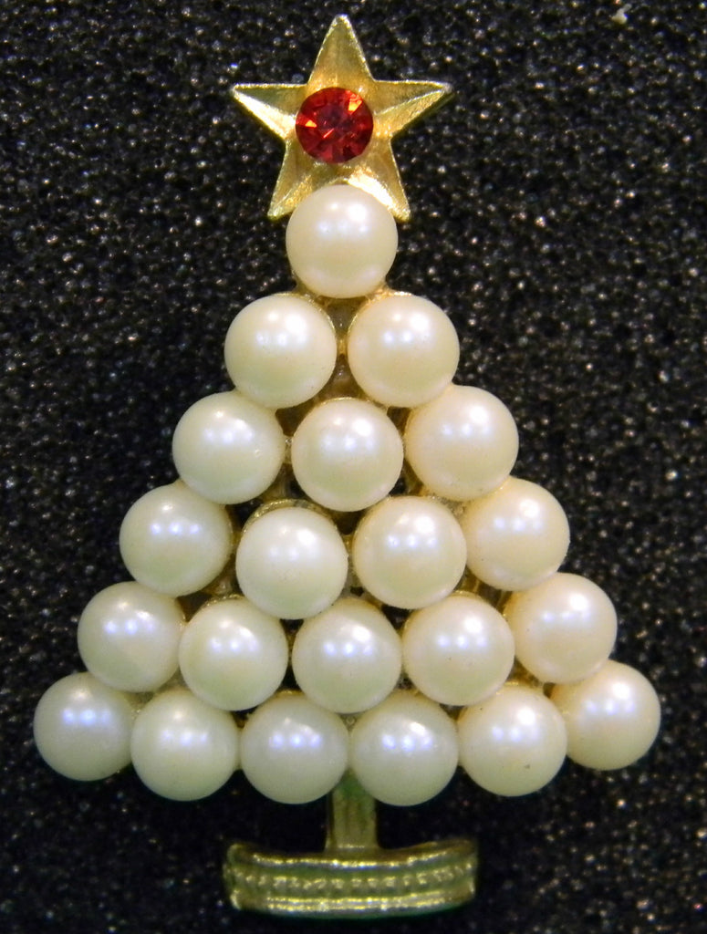 Pearl Christmas Tree Pin Brooch - Mink Road Vintage Jewelry