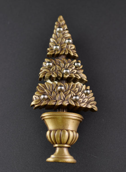 JJ Topiary Christmas Tree Pin - Mink Road Vintage Jewelry