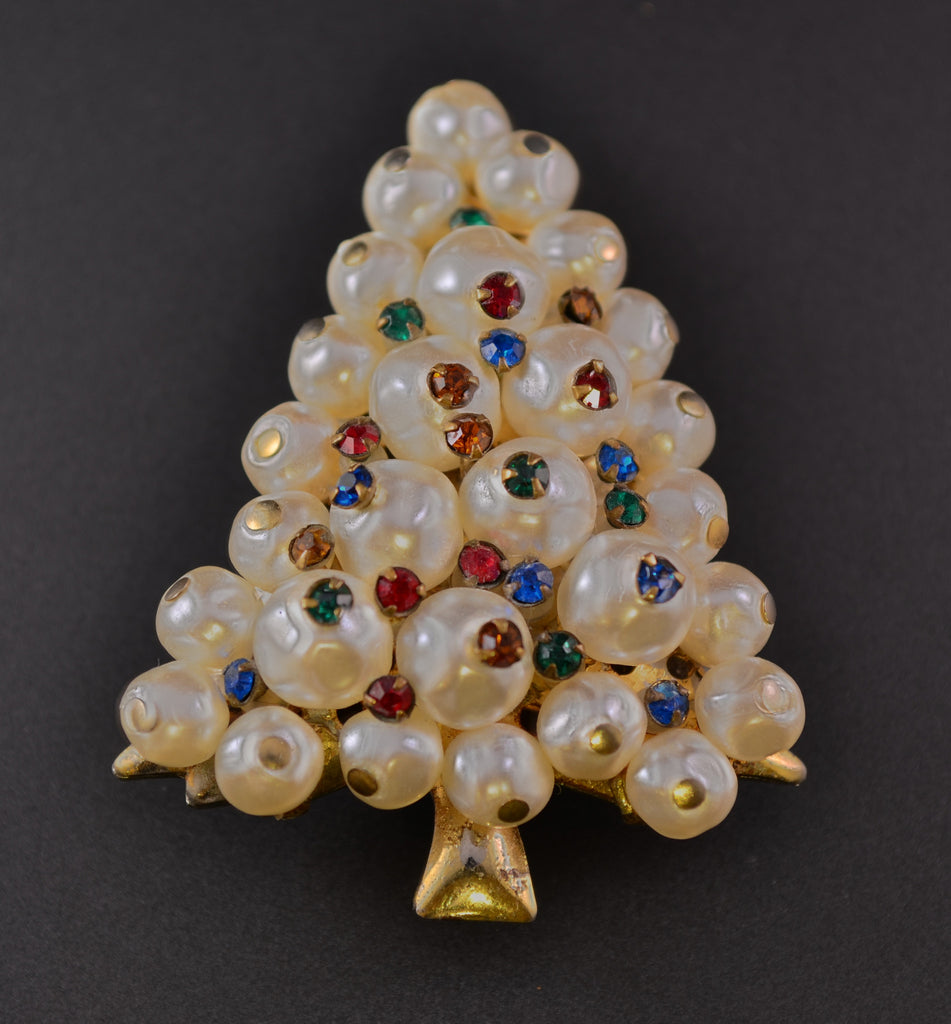 Christmas Tree Lustrous Pearl Rhinestone Pin Brooch - Mink Road Vintage Jewelry
