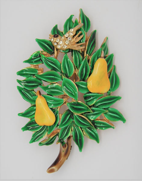 Benedikt Christmas Tree Partridge Pear Holiday Figural Brooch