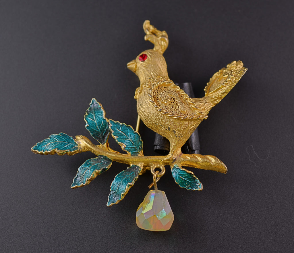 Mylu Partridge & Pear Pin with Dangle - Mink Road Vintage Jewelry