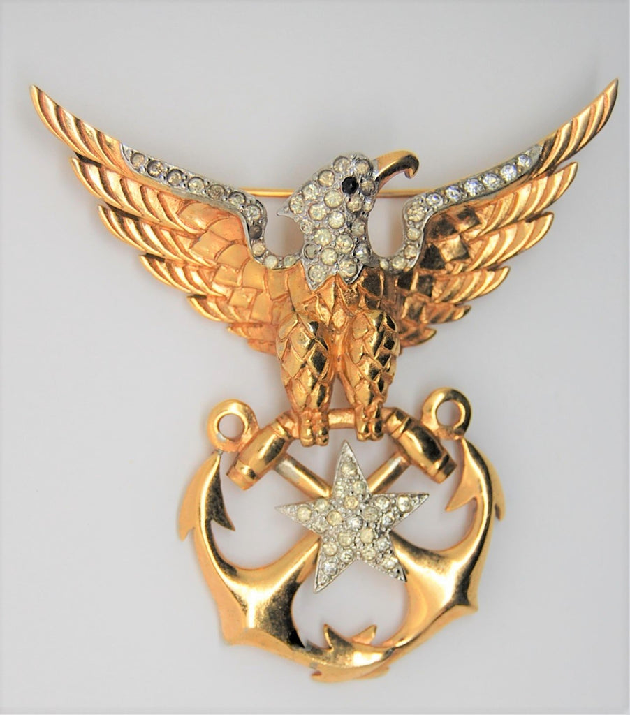 Boucher Eagle Star Anchors USA Patriotic WW2 Vintage Figural Pin Brooch