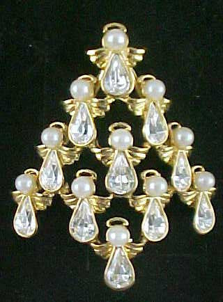 BW Guardian Angel Christmas Tree Brooch - Mink Road Vintage Jewelry