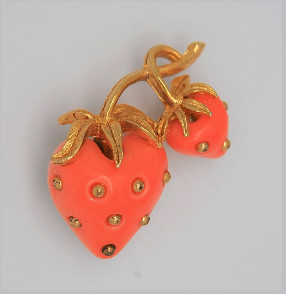 Carnegie Double Pink Stawberries Vintage Figural Brooch