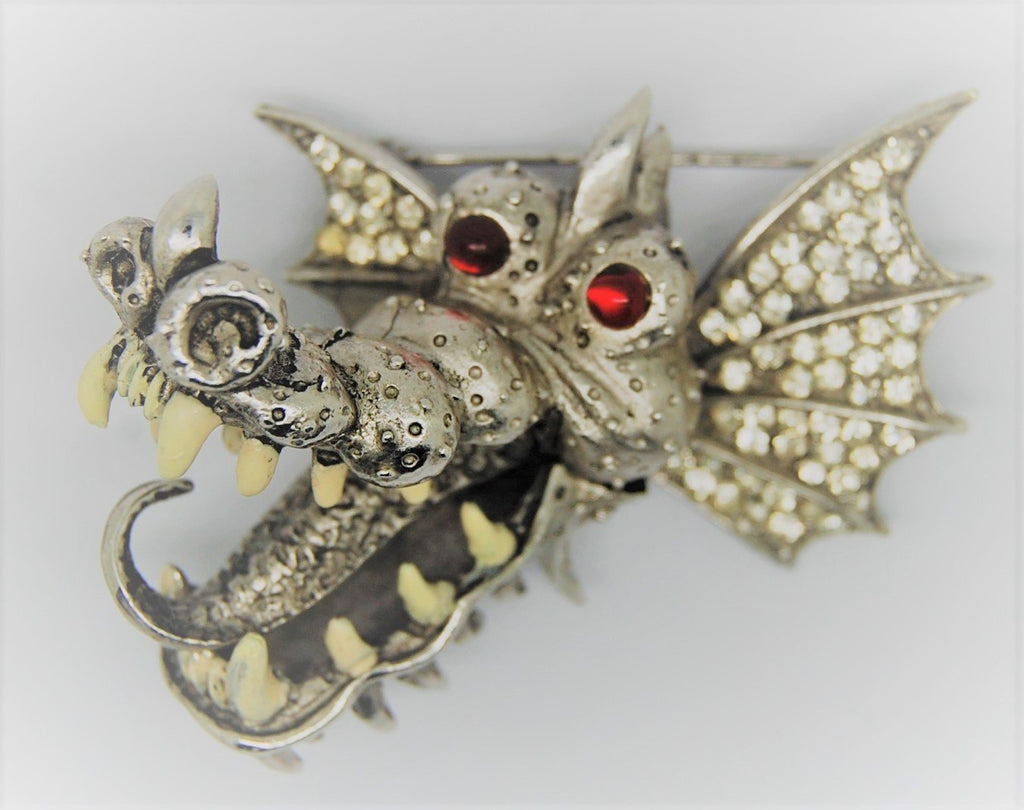 Carnegie Ferocious Toothy Dragon Vintage Figural Pin Brooch -  HTF