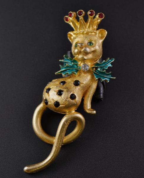 Mylu Leopard Lion King of Christmas Pin Brooch - Mink Road Vintage Jewelry