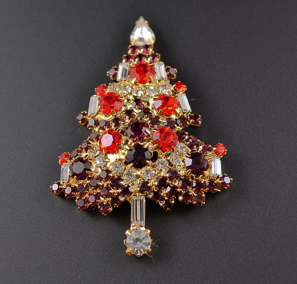 Purple Rhinestone Classic Tree - Mink Road Vintage Jewelry