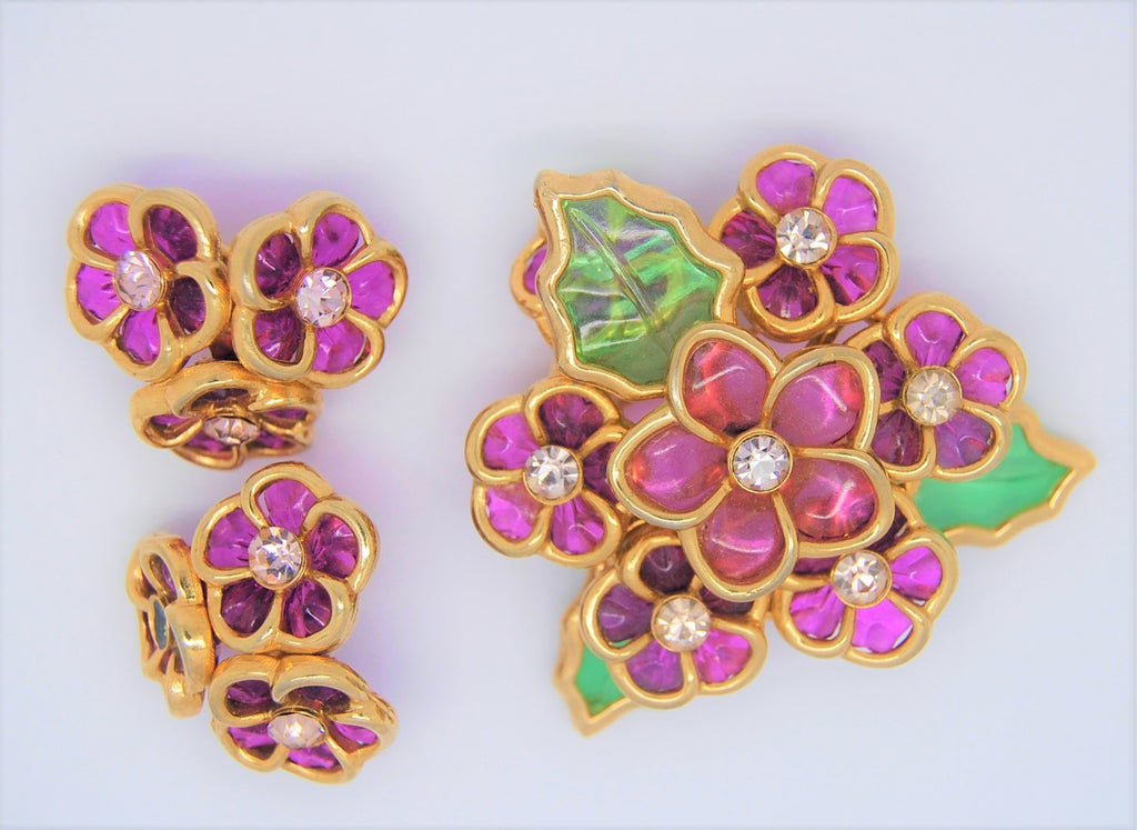 Coro Amethyst Glass Floral Brooch & Matching Clip Earrings - 1950s