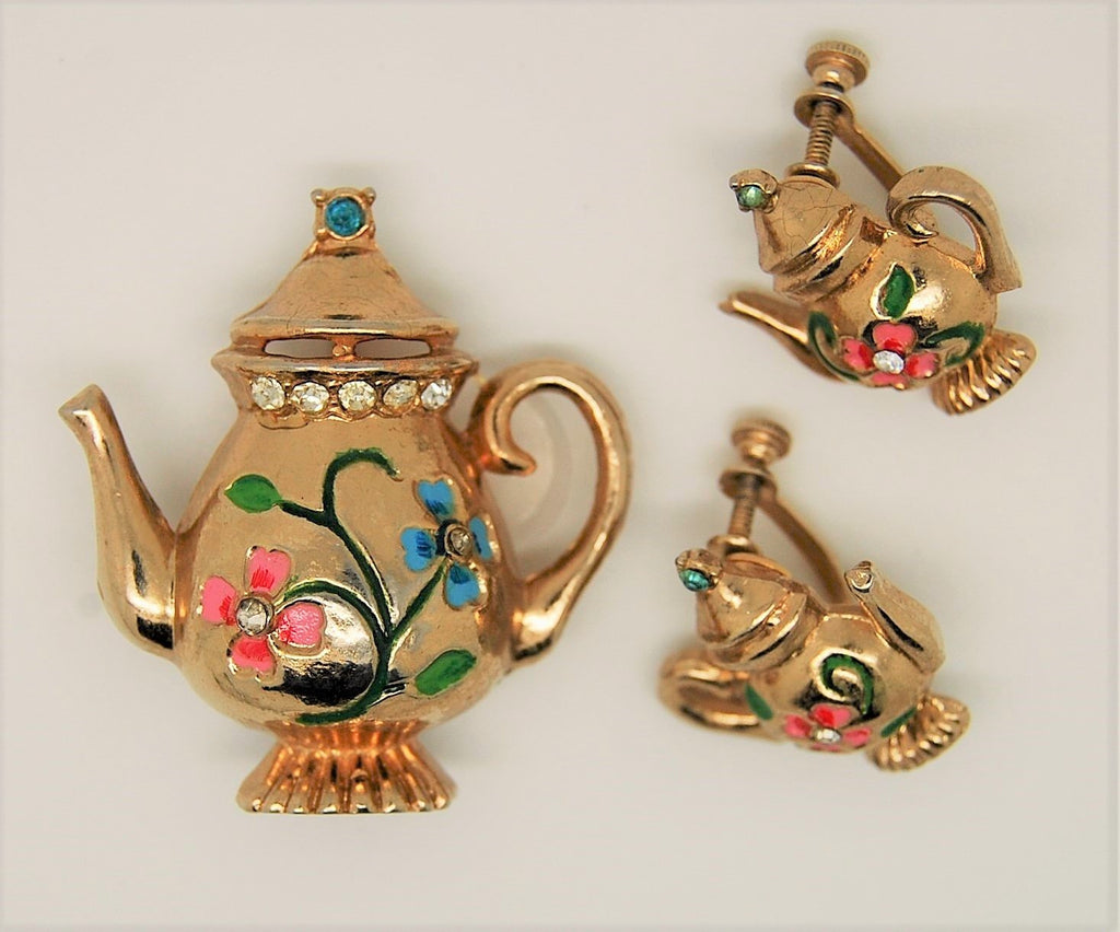 Coro Teapot Floral Figural Brooch and Matched Earrings A. Katz 1948