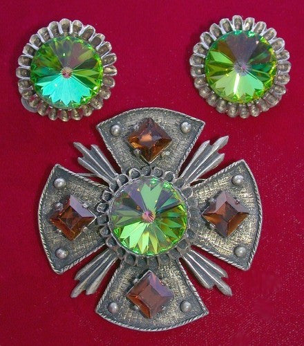 Doddz Rivoli Maltese Cross Figural Pin & Earrings - Mink Road Vintage Jewelry
