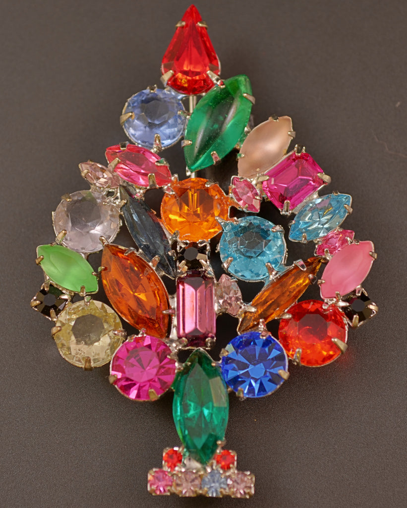 Rhinestone High-End Christmas Tree Pin Brooch - Mink Road Vintage Jewelry