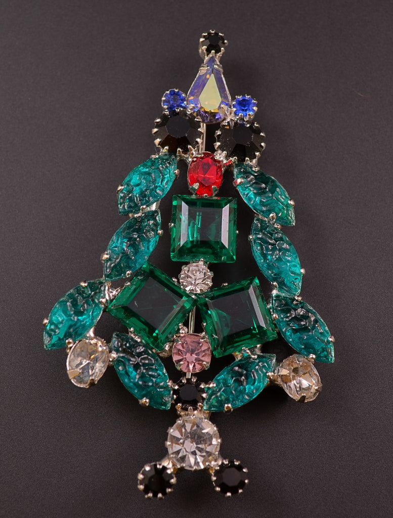 Ron Emerald Rhinestone Christmas Pin - Mink Road Vintage Jewelry