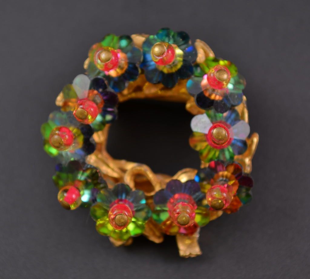 Margarite Rivoli Watermelon Wreath Pin Brooch - Mink Road Vintage Jewelry