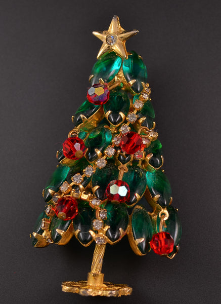 Juliana D&E Green Navette Standing Tree - Mink Road Vintage Jewelry