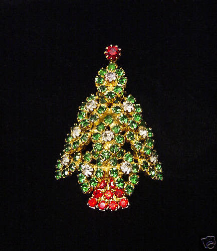 Eisenberg Rhinestone Christmas Tree Brooch - Mink Road Vintage Jewelry